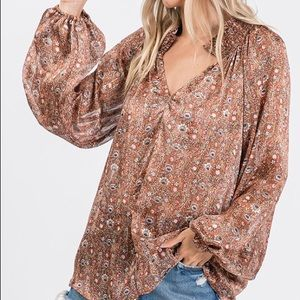 Boujee Boutique Tops - Multi Brown Floral Print Woven Fabric Blouse